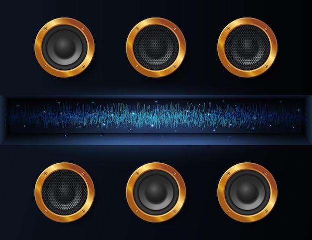 Abstracte donkere achtergrond met muziekluidsprekers en een straal gloeiende energie