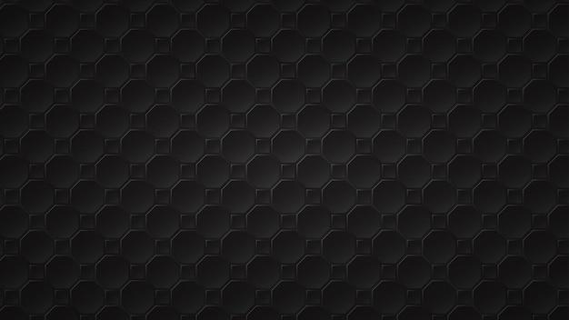 Abstracte donkere achtergrond van zwarte achthoek en vierkante tegels met grijze gaten ertussen