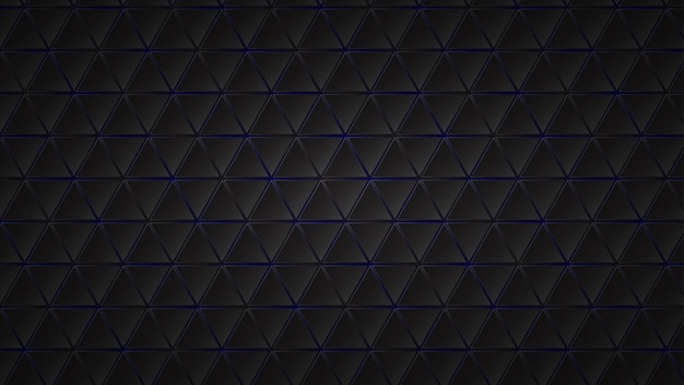 Abstracte donkere achtergrond van zwarte driehoekige tegels met blauwe gaten ertussen