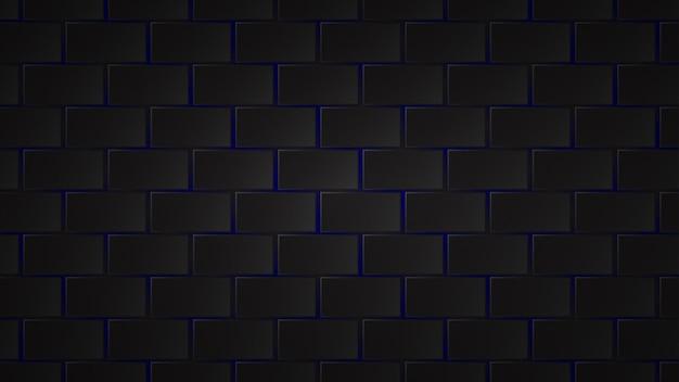 Abstracte donkere achtergrond van zwarte rechthoekige tegels met blauwe openingen ertussen