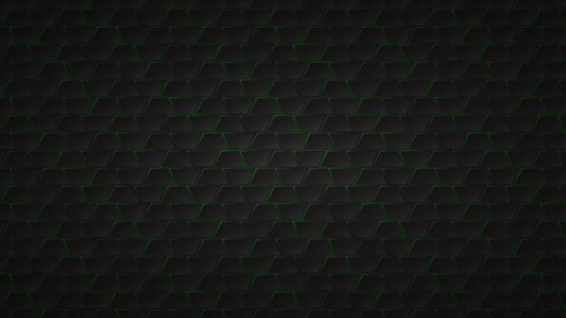 Abstracte donkere achtergrond van zwarte trapeziumtegels met groene openingen ertussen