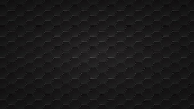Abstracte donkere achtergrond van zwarte zeshoekige tegels met grijze gaten ertussen
