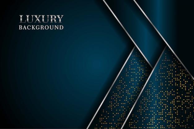 Abstracte donkere marine overlappen met glitters stippen en zilveren lijn moderne luxe futuristische technische achtergrond