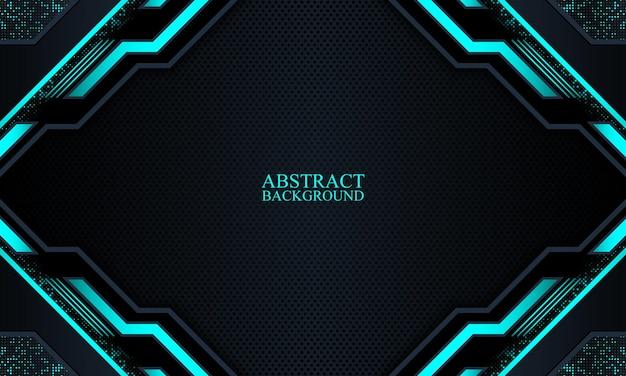 Abstracte donkere marine technische achtergrond met blauwe neon strepen vector illustration