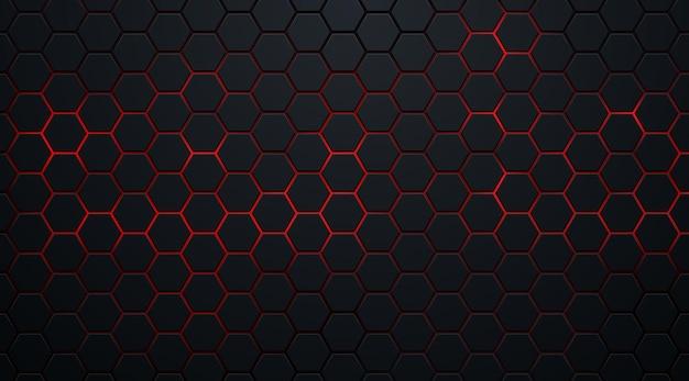Abstracte donkere zeshoekige vormen op rode neon achtergrondtechnologiestijl.