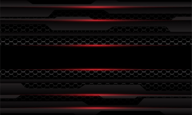 Abstracte donkergrijs metallic cyber geometrische rood licht zeshoek mesh overlap zwarte achtergrond