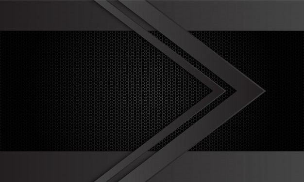 Abstracte donkergrijze pijlrichting op de zwarte hexagon achtergrond van het netwerkpatroon.