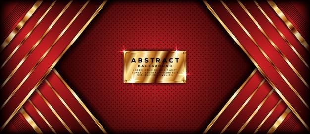 Abstracte donkerrode bannerachtergrond met gouden overlappingslagen