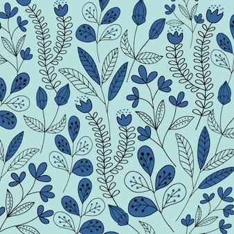 Abstracte doodle blauwe bloemenpatroon en achtergrond