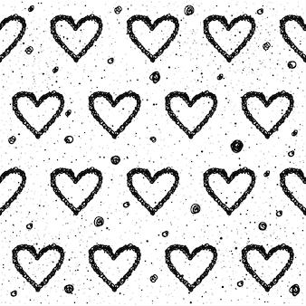 Abstracte doodle naadloze klomp achtergrond. monochroom zwart-wit patten voor ontwerp wenskaart, moderne feestuitnodiging, halloween vakantiemenu, tas afdrukken, t-shirtontwerp enz. Premium Vector