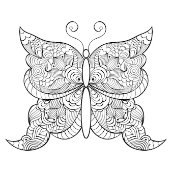 Abstracte doodle vlinder