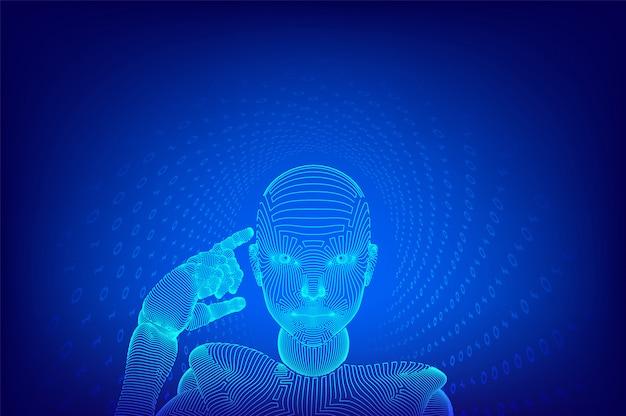 Abstracte draadframe vrouwelijke cyborg houdt een vinger in de buurt van het hoofd en denkt of berekent met behulp van haar kunstmatige intelligentie.