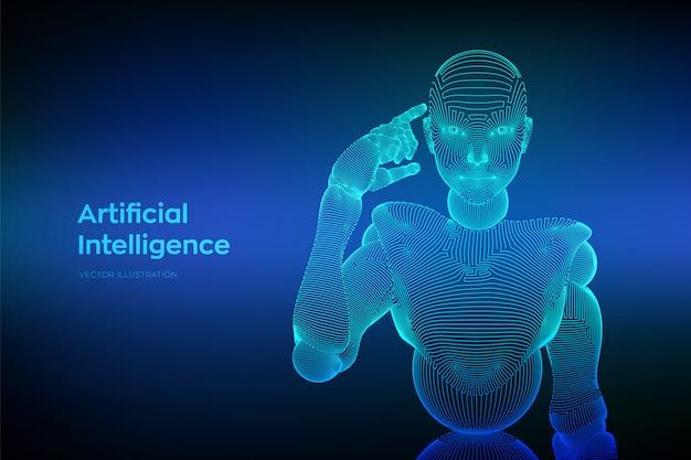 Abstracte draadframe vrouwelijke cyborg of robot houdt een vinger bij het hoofd en denkt of berekent met behulp van haar kunstmatige intelligentie.