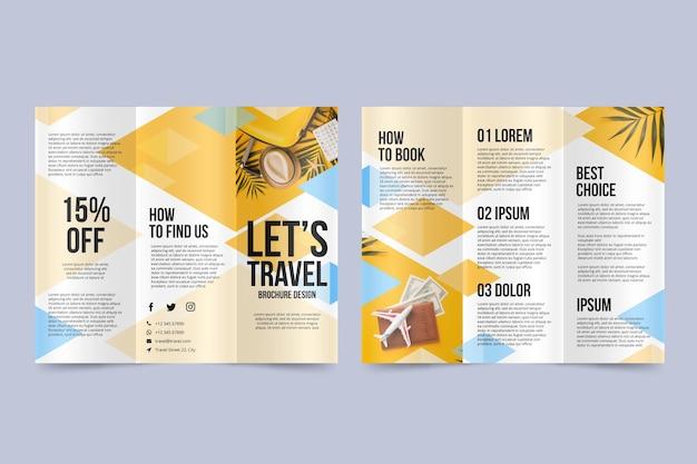 Abstracte driebladige brochure met foto