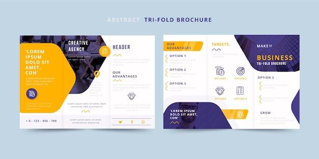 Abstracte driebladige brochure voor- en achterkant