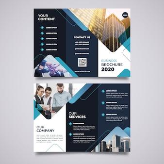 Abstracte driebladige brochuremalplaatje met beeld