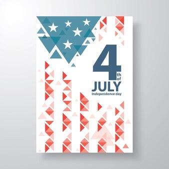 Abstracte driehoek met tekst 4 juli voor amerikaanse viering van de onafhankelijkheidsdag.