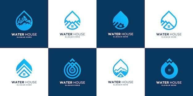 Abstracte drop house logo ontwerpsjabloon, water huis vector pictogram