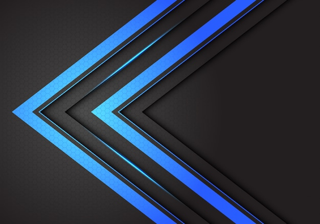 Abstracte dubbele blauwe lichte pijlrichting op donkergrijze hexagon netwerkachtergrond.