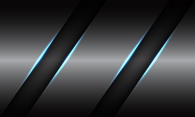Abstracte dubbele zwarte lijn blauwe lichte schuine streep op grijze metaalachtergrond.