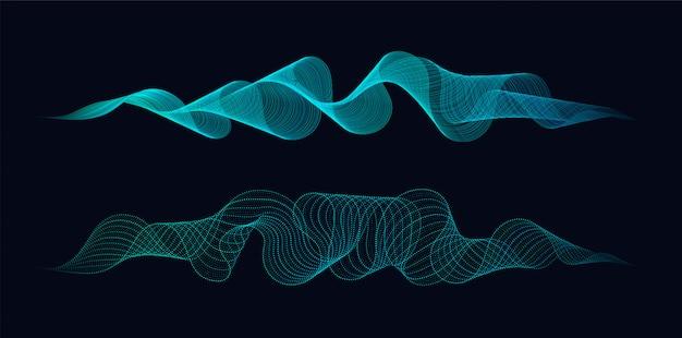 Abstracte dynamische golven van lijnen en punten die op donker stromen