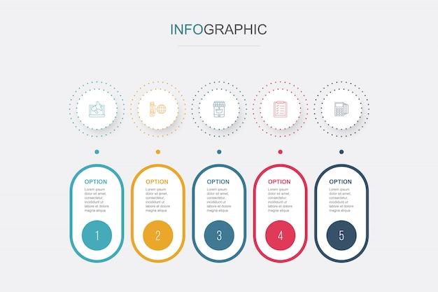 Abstracte e-commerce infographics 5 opties sjabloon. data visualisatie