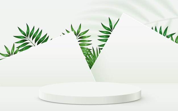 Abstracte eco scene achtergrond cilinder podium met bladeren op witte achtergrond product presentatie m...