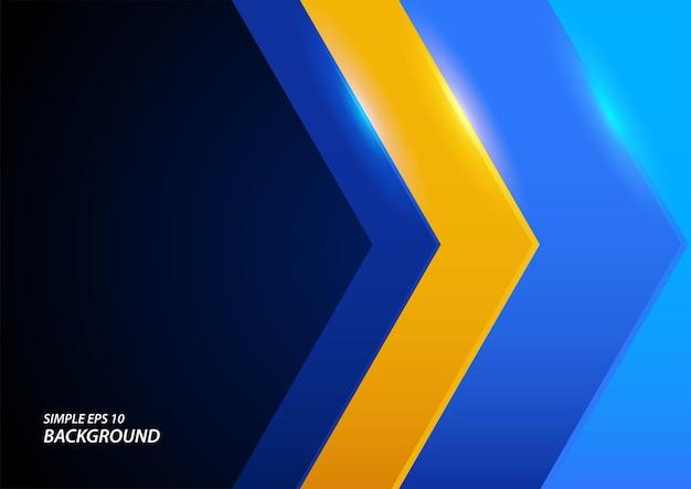 Abstracte eenvoudige achtergrond van blauwe en gele hoekpijl in eps 10-formaat