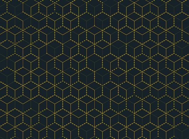 Abstracte eenvoudige minimale gouden moderne het patroonachtergrond van de kleuren hexagon technologie.