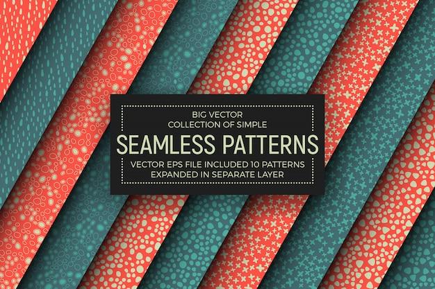 Abstracte eenvoudige naadloze patronen set