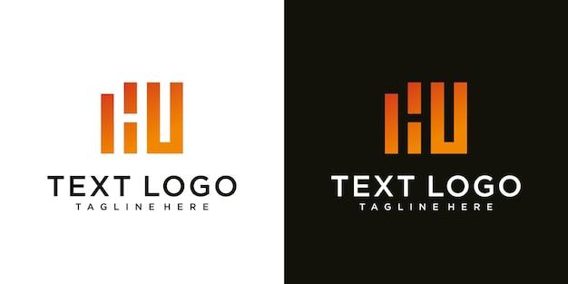 Abstracte eerste letter hu hu minimale logo ontwerpsjabloon