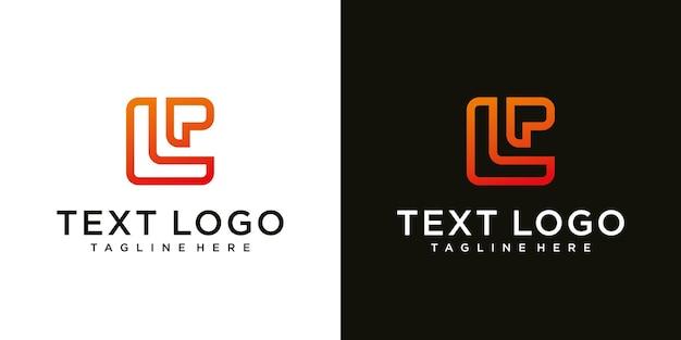 Abstracte eerste letter lp lp minimale logo ontwerpsjabloon