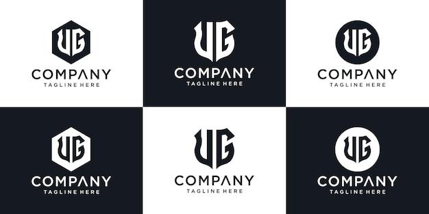 Abstracte eerste letter ug ug minimale logo ontwerpsjabloon