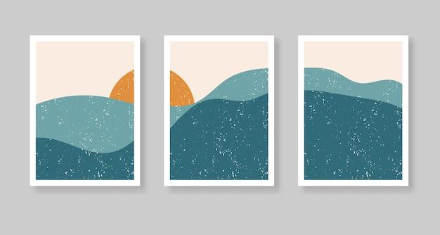 Abstracte eigentijdse esthetische achtergrond met landschap, bergen, zon. boho wand decor.