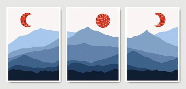 Abstracte eigentijdse landschap boho poster sjablooncollectie.