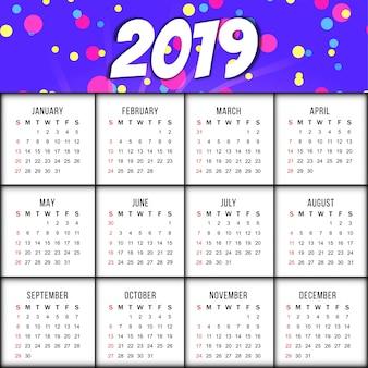 Abstracte elegante de kalenderachtergrond van nieuwjaar 2019
