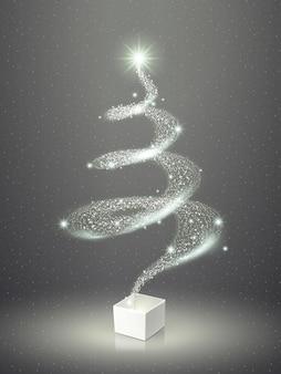 Abstracte elegante sprankelende kerstboom over grijs