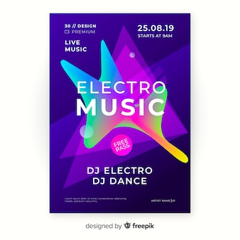 Abstracte elektronische muziek poster sjabloon