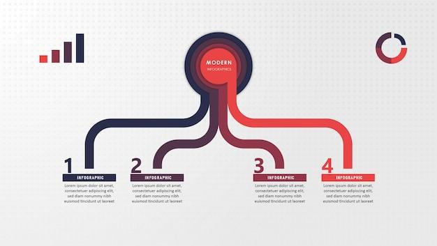 Abstracte elementen van grafiek, diagram met stappen, opties, onderdelen of processen. zakelijke sjabloon voor presentatie