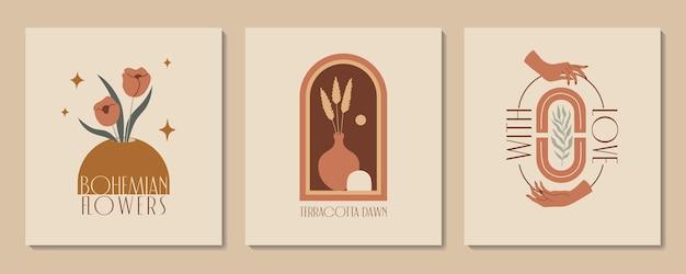 Abstracte esthetische illustratie en bohemien poster met handen vazen terracotta en planten