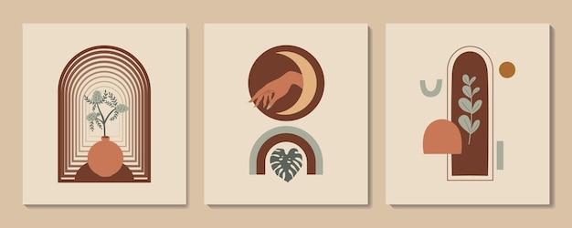 Abstracte esthetische illustratie en bohemien poster met handvazen boog en tropische planten