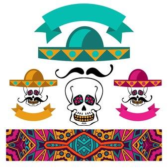 Abstracte etnische kleurrijke banner mexicaanse set schedel met snor en sombrero