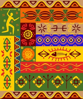 Abstracte etnische patronen en ornamenten voor ontwerp