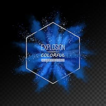 Abstracte explosie van blauw gekleurd poeder
