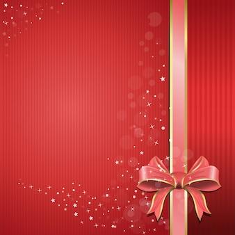 Abstracte feestelijke roze achtergrond voor uw ontwerp. rode achtergrond met roze lint en boog voor vakanties en romantische evenementen. vakantie rode achtergrond met lint en de gift glanzende boog