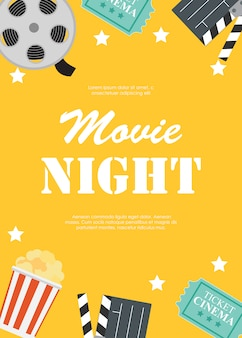 Abstracte film nacht bioscoop platte achtergrond met spoel, oude stijl ticket, big pop corn en klepel symbool iconen. illustratie