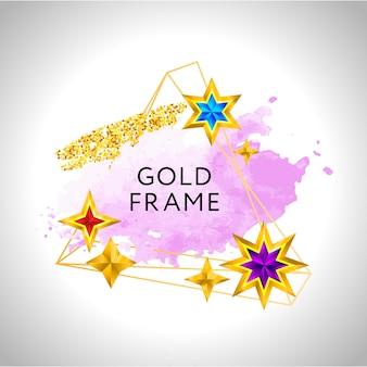 Abstracte frame viering achtergrond met roze aquarel gouden sterren en plaats voor tekst