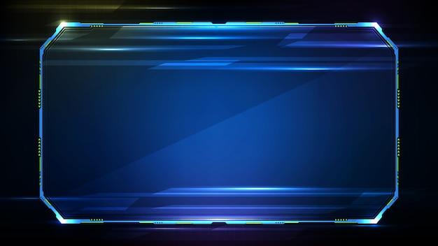 Abstracte futuristische achtergrond. blauwe gloeiende technologie sci fi frame hud ui