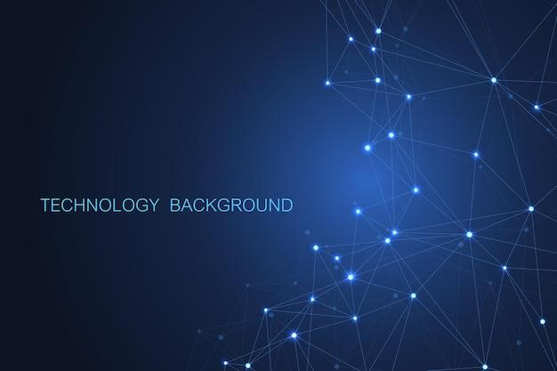 Abstracte futuristische achtergrond. moleculentechnologie met veelhoekige vormen op donkerblauwe achtergrond.