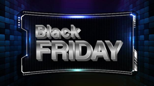 Abstracte futuristische achtergrond van black friday sale-tekst met hud dui-display